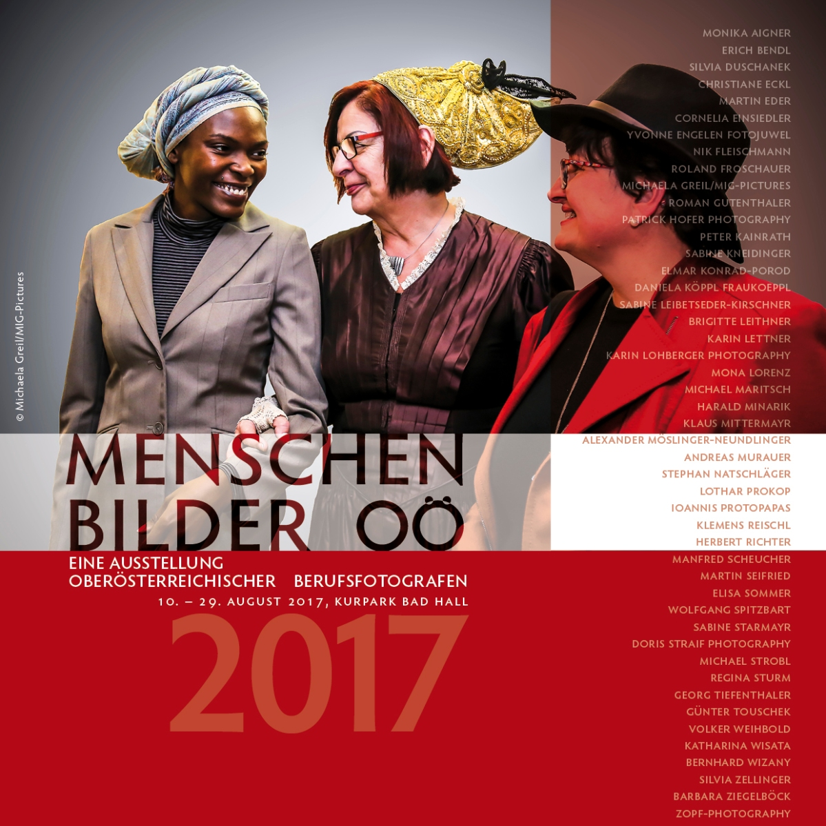 Einladung zur Vernissage & Ausstellung: BAD HALL 10.8.-29.8.2017 - VERLÄNGERUNG: Menschenbilder OÖ 2017, OÖ BerufsfotografInnen 4.5.-29.8.2017